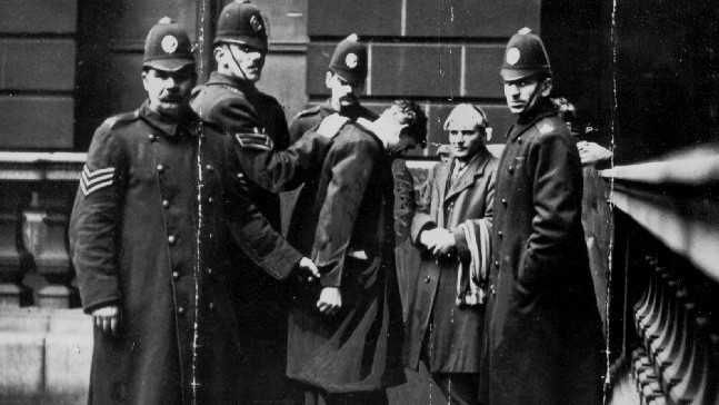 David Kirkwood and Willie Gallacher being detained by police during the 1919 Battle of George Square on 31 January 1919.
