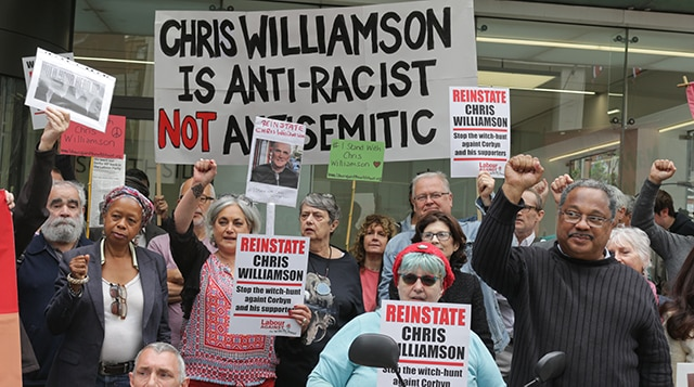 Reinstate Chris Williamson Protest at Labour HQ. Credit: Steve Eason