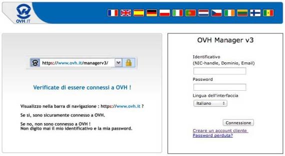 OVH - Accesso al pannello di controllo