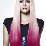 Platinum blonde hair color with purple red dip dye