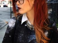 Long curly hairstyle with auburn and light auburn ombre