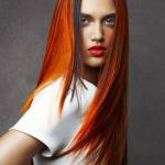 Long sleek hairstyle with Orange and black hair dye