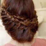 Princess braids with dark chestnut haircolor