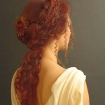 Long ginger braided hairstyle
