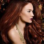 Dark auburn hairstyle with shades red highlights
