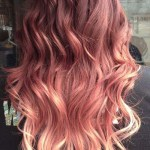 Blonde red violet ombre hair color