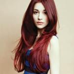 Long hairstyle with light brown red hair color