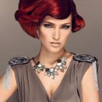 short ruby red hairstyle