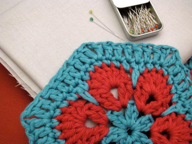 Sunday Snapshot: Crocheted Hexagon Shirt Supplies   Red-Handled Scissors