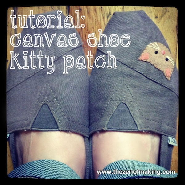 Tutorial: Canvas Shoe Kitty Patch   Red-Handled Scissors