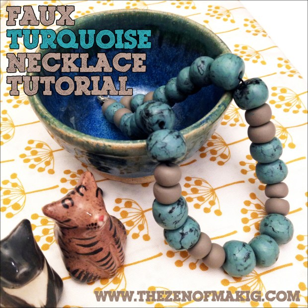 Tutorial: Faux Turquoise Polymer Clay Beaded Necklace | Red-Handled Scissors