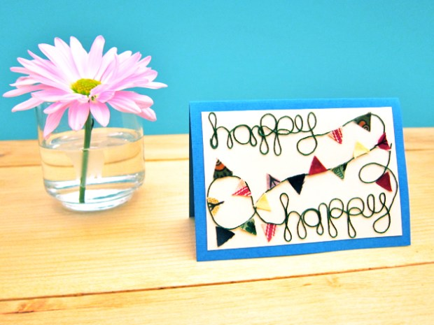 Tutorial: Colorful Bunting Greeting Card for Craftzine.com