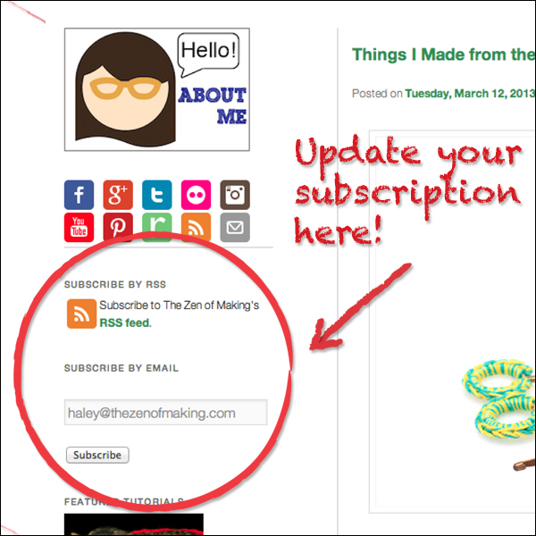 Update your RSS Feeds! | Red-Handled Scissors
