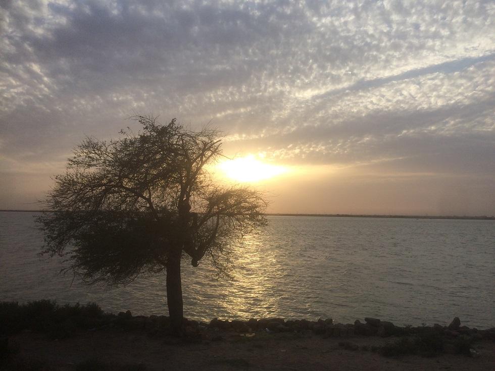 Senja di Sungai Nil di kota Khartoum