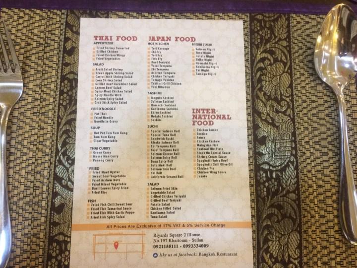 menu di restoran bangkok
