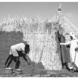 Seorang warga sedang membangun rumah dari lumpur