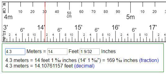 Tabel konversi 1 meter berapa kaki