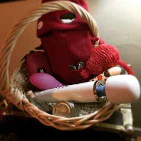 Basket containing vibrators and a hot water bottlee shaped like a monster