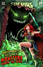 """JoEllen drawn as Wonder Woman, holding a sword, battling a monster with sharp teeth and glowing eyes that is rising up from under a bed text reads """"JoEllen Notte Takes on The Monster Under The Bed"""" top of the images features the SheVibe logo"""