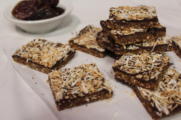 Easy Chocolate Covered Coconut Date Bars