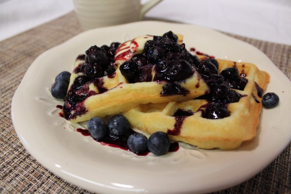 waffles, low carb, almond flour, blueberry sauce