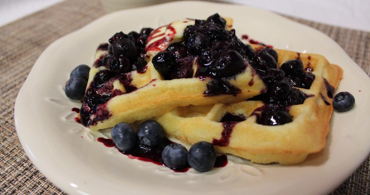 Almond Flour Waffles with Blueberry Sauce