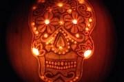 Sugar Skull Pumpkin Lit