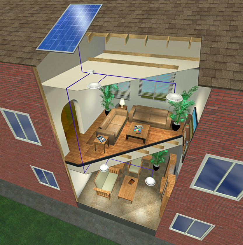 Cutaway Diagram of House with Redilight Installed, solar powered lighting