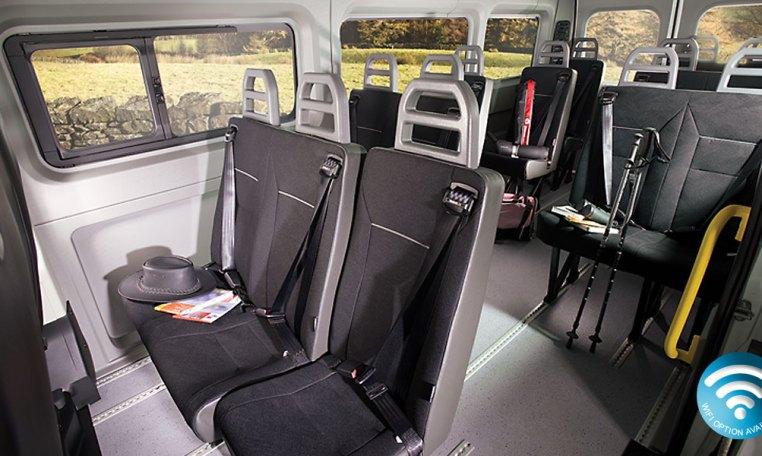 Red Kite Peugeot Boxer 17 Seat Minibus interior