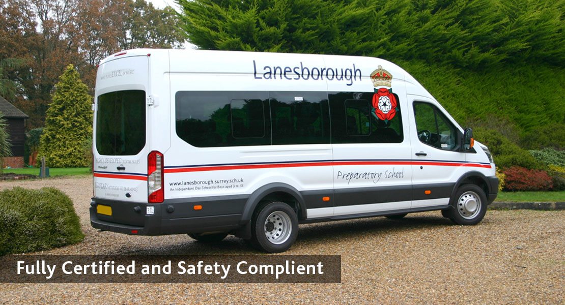redkite school minibuses Fully Certified and Safety Complient