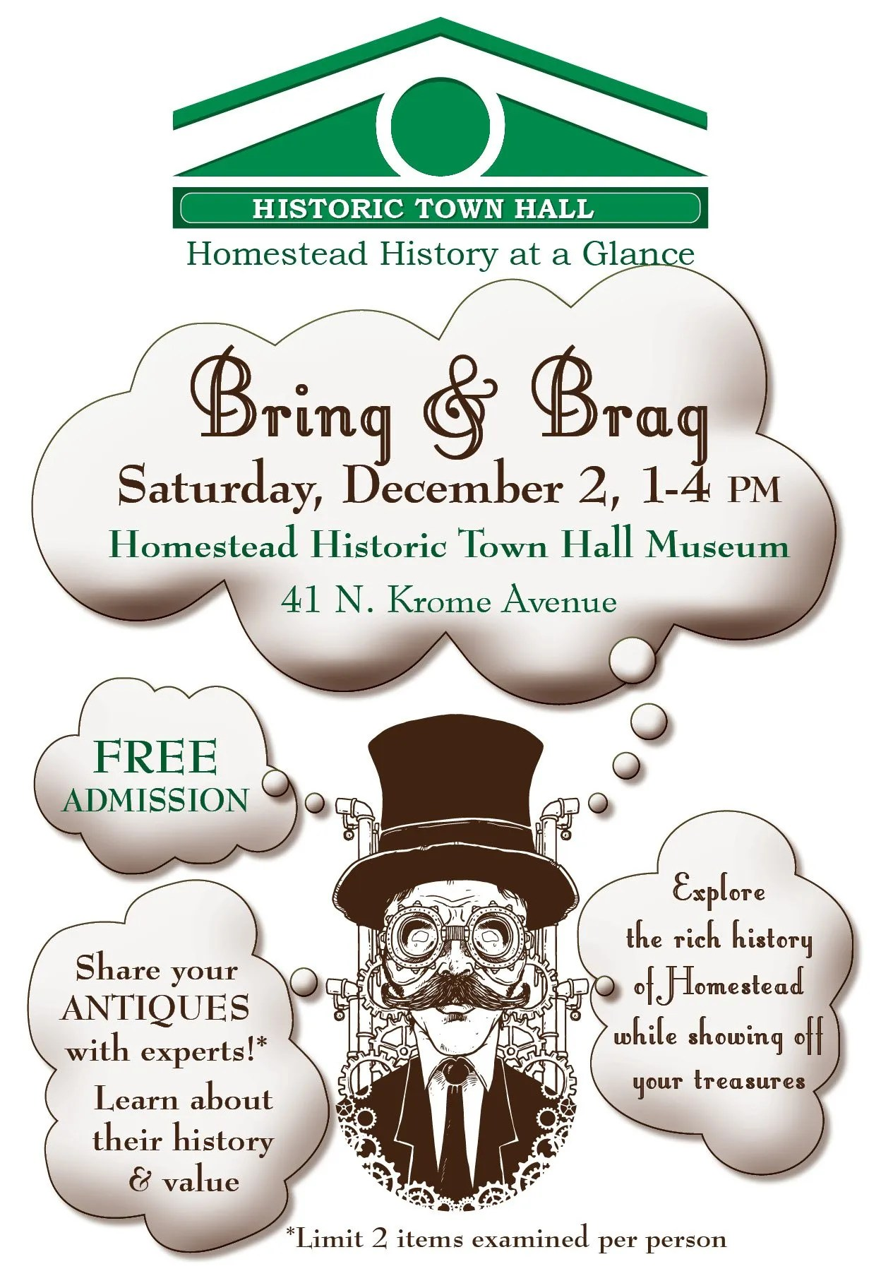 Bring and Brag to the Historic Homestead Town Hall Museum