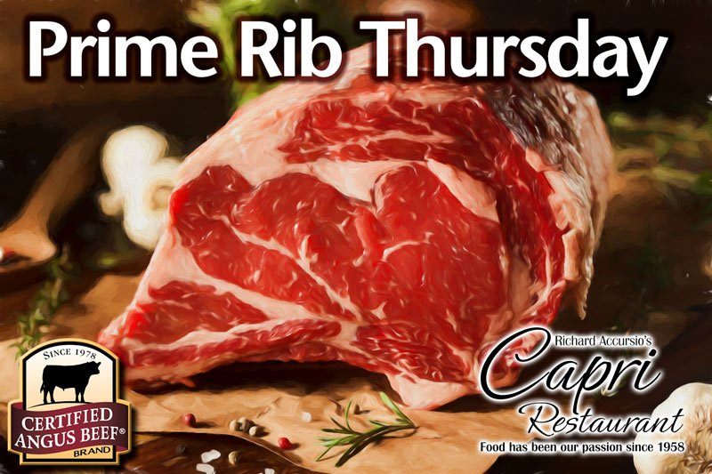 Prime Rib of Angus Beef Dinner Special every Thursday at Jimmy Accursio's Capri Restaurant in Florida City.