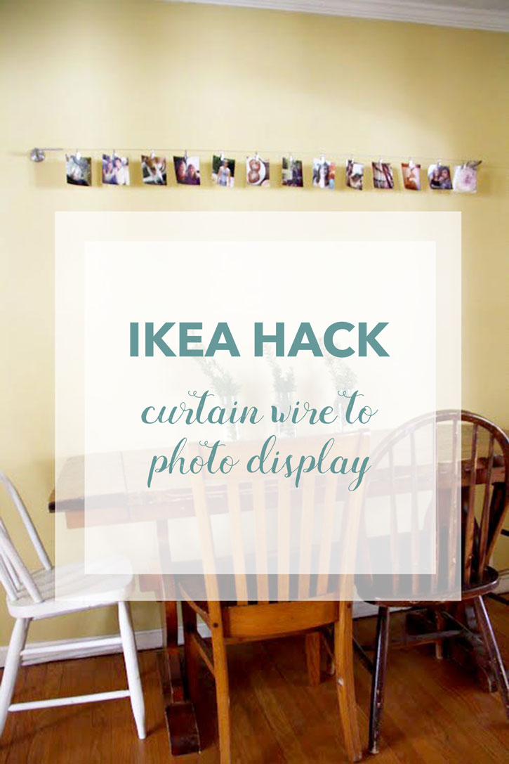 IKEA Hack: Curtain Wire to Photo Display | redleafstyle.com