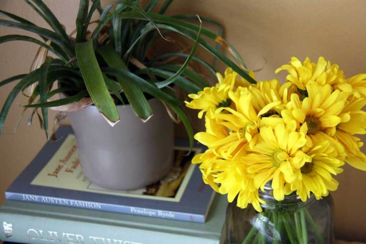 Yellow daisies and books | redleafstyle.com