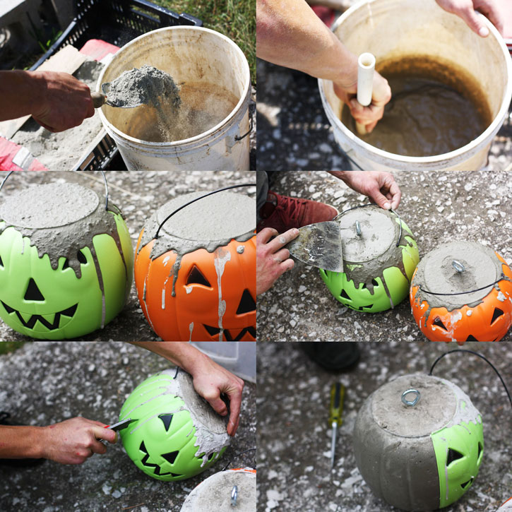 In a few easy steps, you can make the ultimate concrete jack-o-lantern for Halloween. | redleafstyle.com