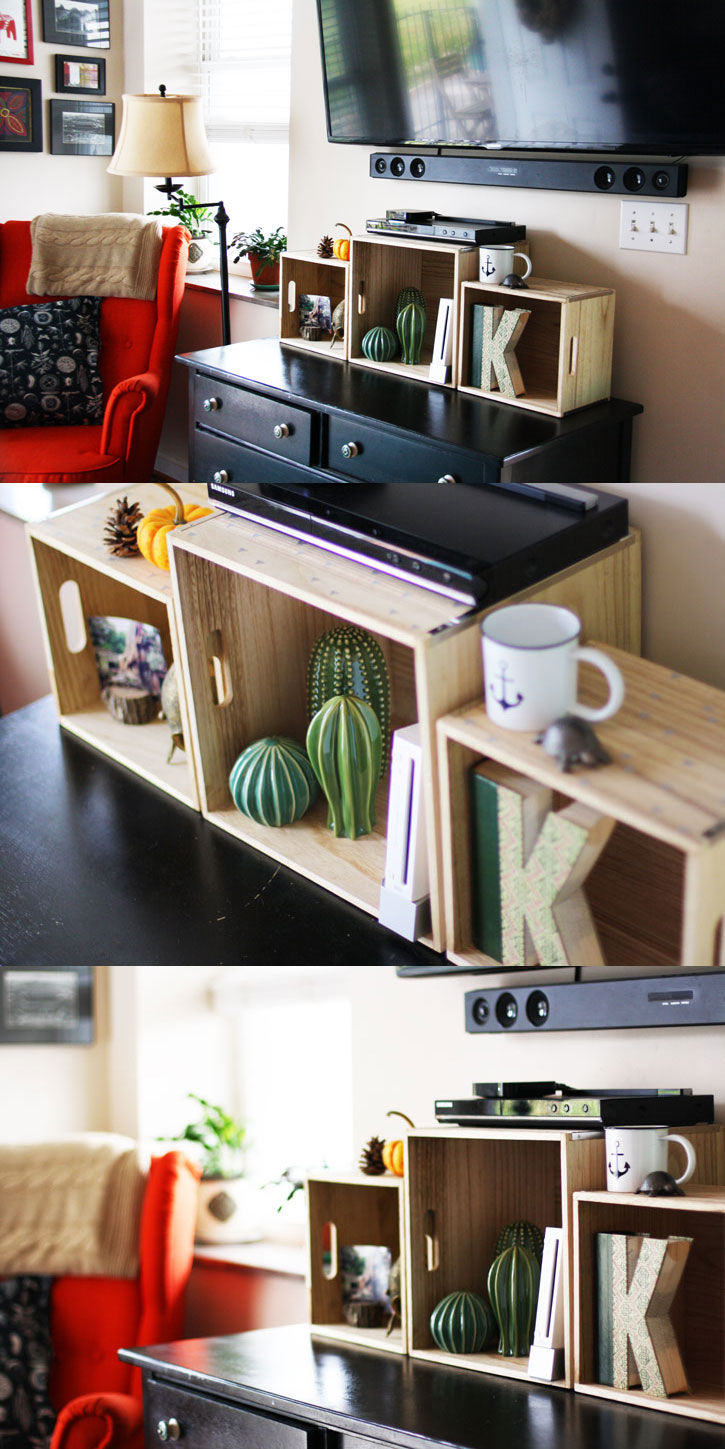 How to Make An Easy and Stylish DIY TV Console with Wood Boxes | redleafstyle.com