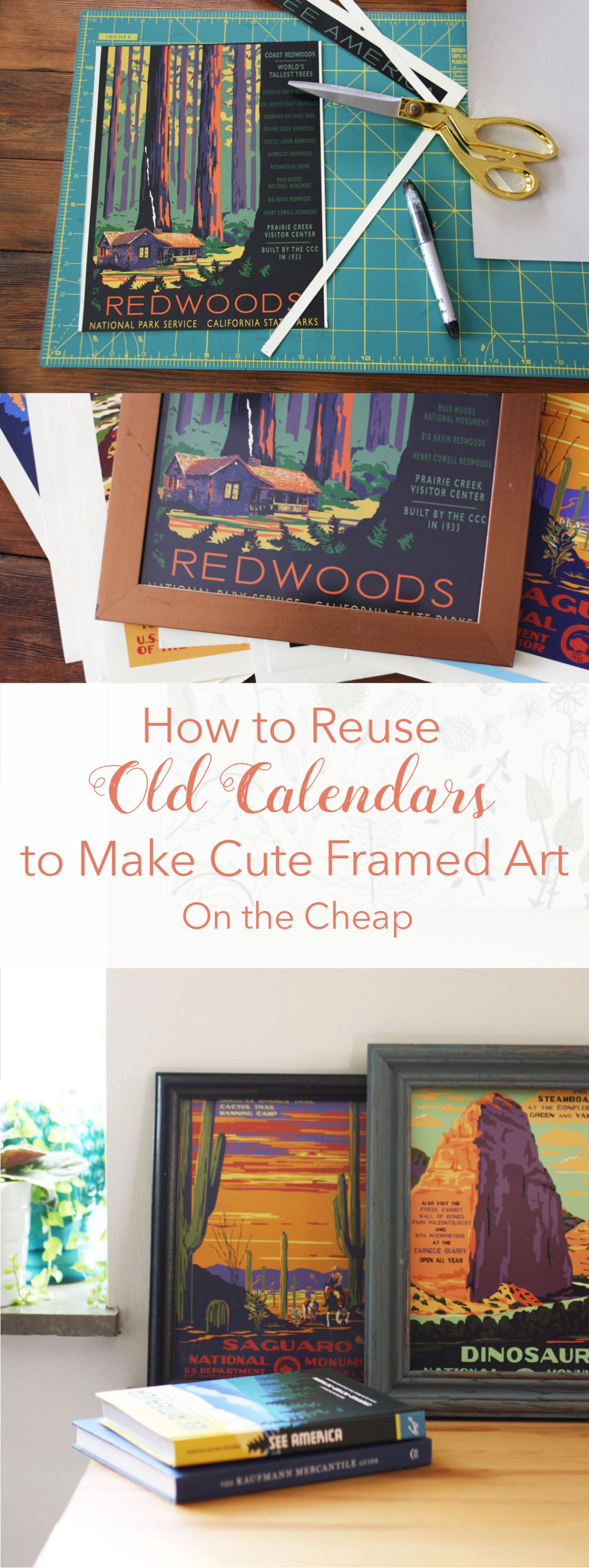 How to Reuse Old Calendars to Make Cute Framed Art on the Cheap | redleafstyle.com