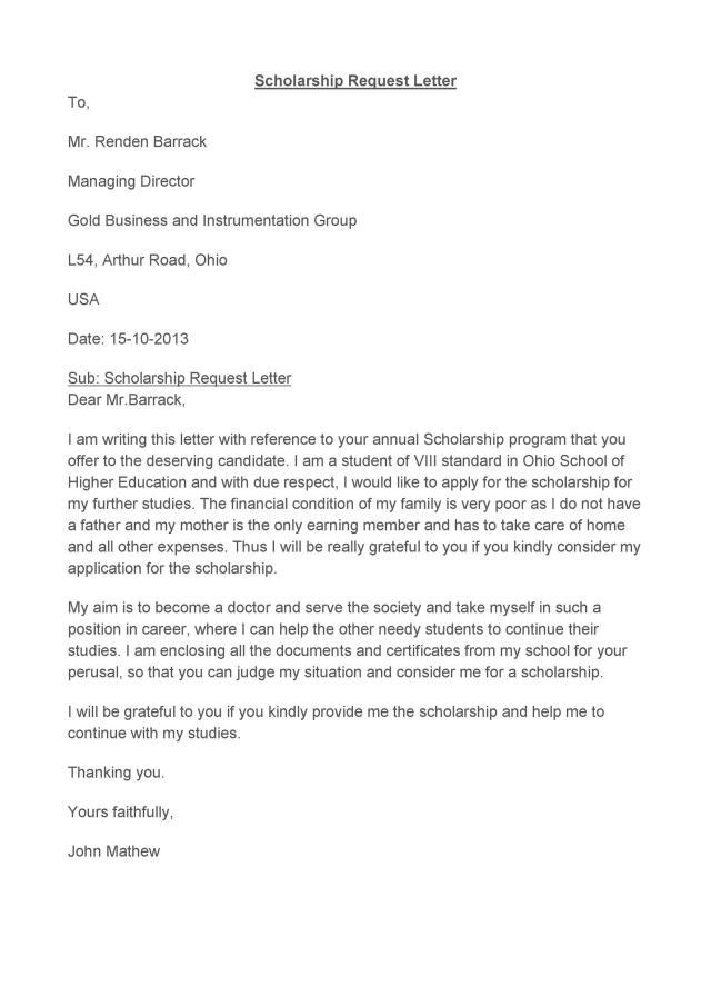 Sample Letter of Application for Scholarship - My Graceland