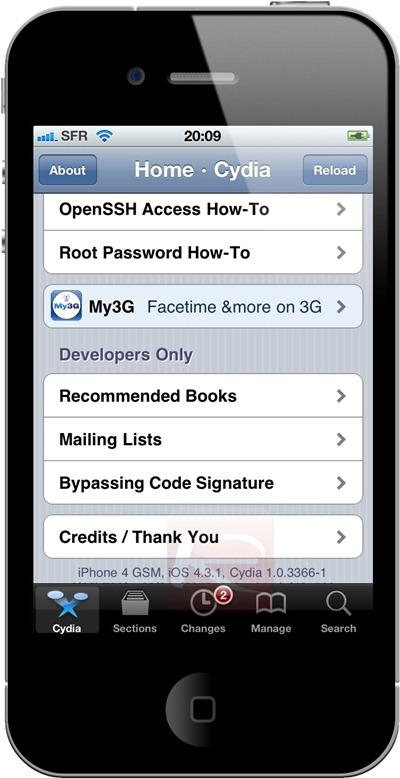 Cydia on iOS 4.3.1