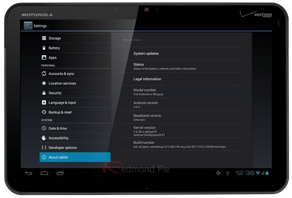 Motorola Xoom ICS