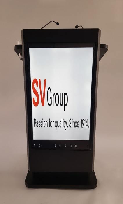 Rednerpult mit Display in der Front, motorisch höhenverstellbar