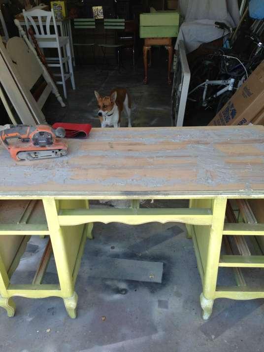 French Desk top repair with Bondo redouxinteriors