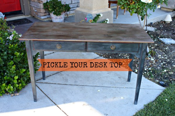 Pickled Top Desk with Cece Caldwell Vermont Slate banner Redouxinteriors