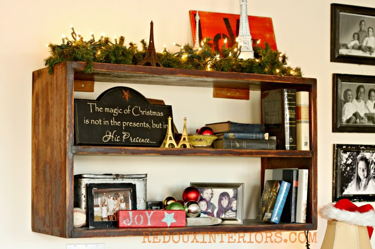 Christmas Bookcase study area Redouxinteriors