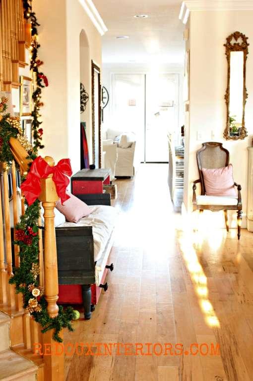 Christmas View through front door Redouxinteriors