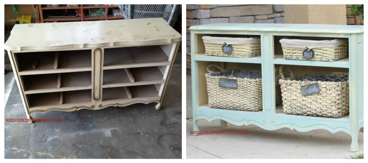 French Dresser turned Basket Shelves Redouxinteriors
