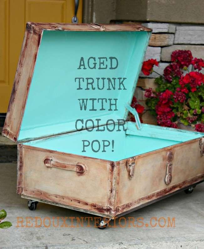 Aged Trunk Santa Fe Turquoise inside 2 Redouxinteriors