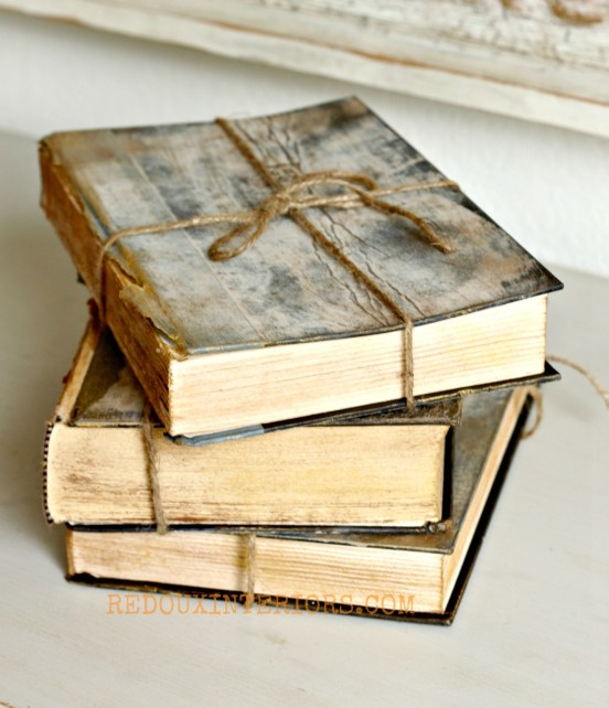 Antiqued Books Redouxinteriors