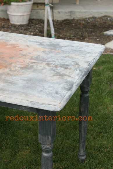 Farm table with faux rusted top 2 redouxinteriors