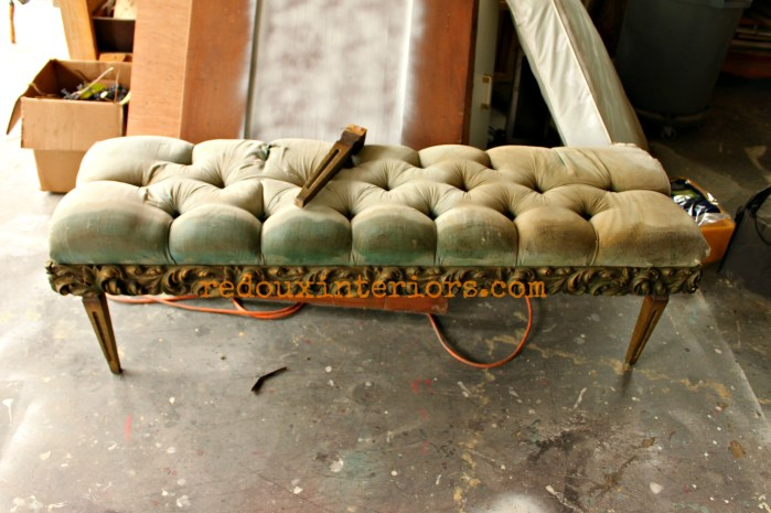 Tufted bench before redouxinteriors